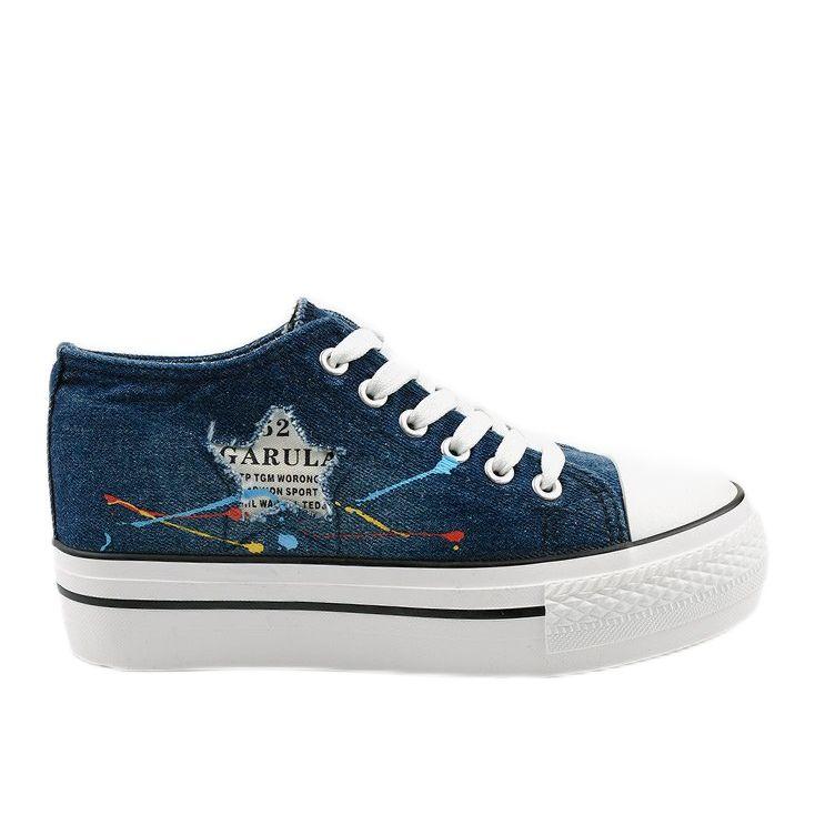 Trampki Obuwie Damskie Kobiety Butymodne Granatowe Sneakersy Na Koturnie Sznurowane Mirarenna In 2020 Sneakers Fashion Shoes