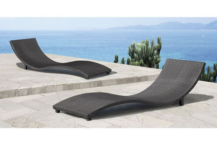 Soro Sun Lounger Pool Wicker, Contemporary Outdoor Chaise Lounge Chairs