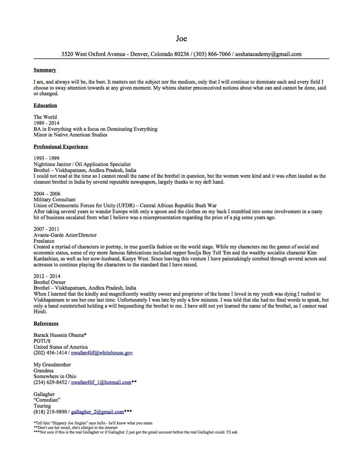 Ohmigosh you guys, this person sent this resume to over 100 - comedian resume