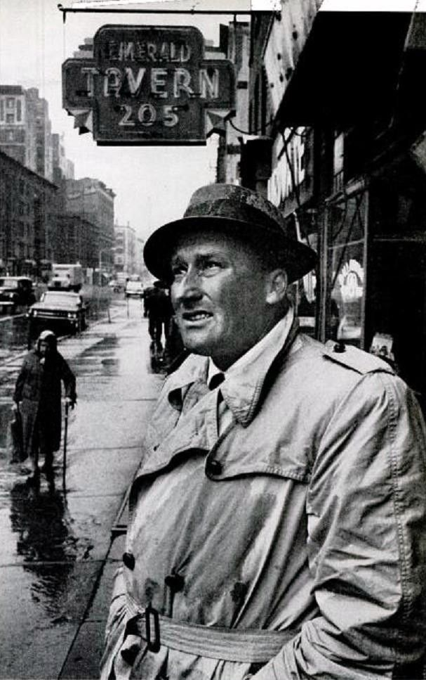 Mickey Spillane outside of the Emerald Tavern. Columbus Avenue, between 69th and 70th circa 1960's.