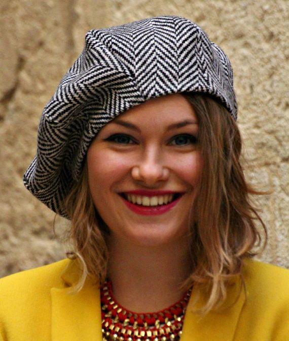 Womans fabric beret hat. Chevron fabric hat. by delisaboutique