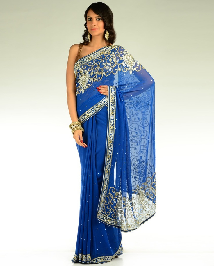 Royal Blue Sari with Embellishments