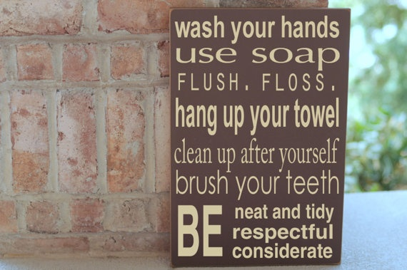 I need this for each of my kids bathrooms!Bathroom Design, Bathroom Rules, Boys Bathroom, Kids Bathroom, Modern Bathroom, Bathroom Ideas, Bathroom Interiors Design, Bathroom Decor, Bathroom Signs