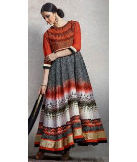 Lovely Red And Multi-Color Silk Anarkali Suit.