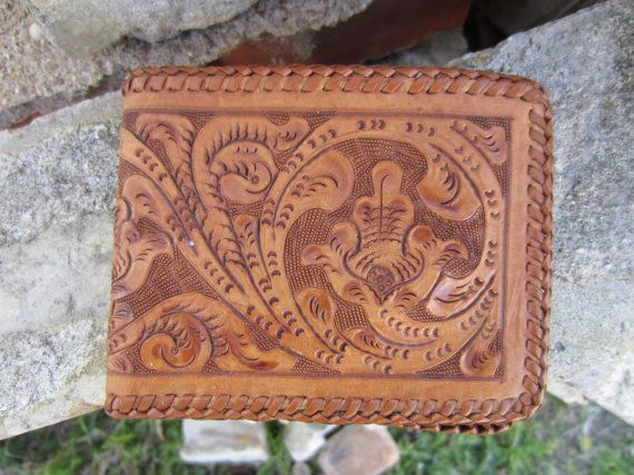 50s Hand Tooled Western Leather Wallet // Vintage Cowboy Billfold // Cowgirl Wallet