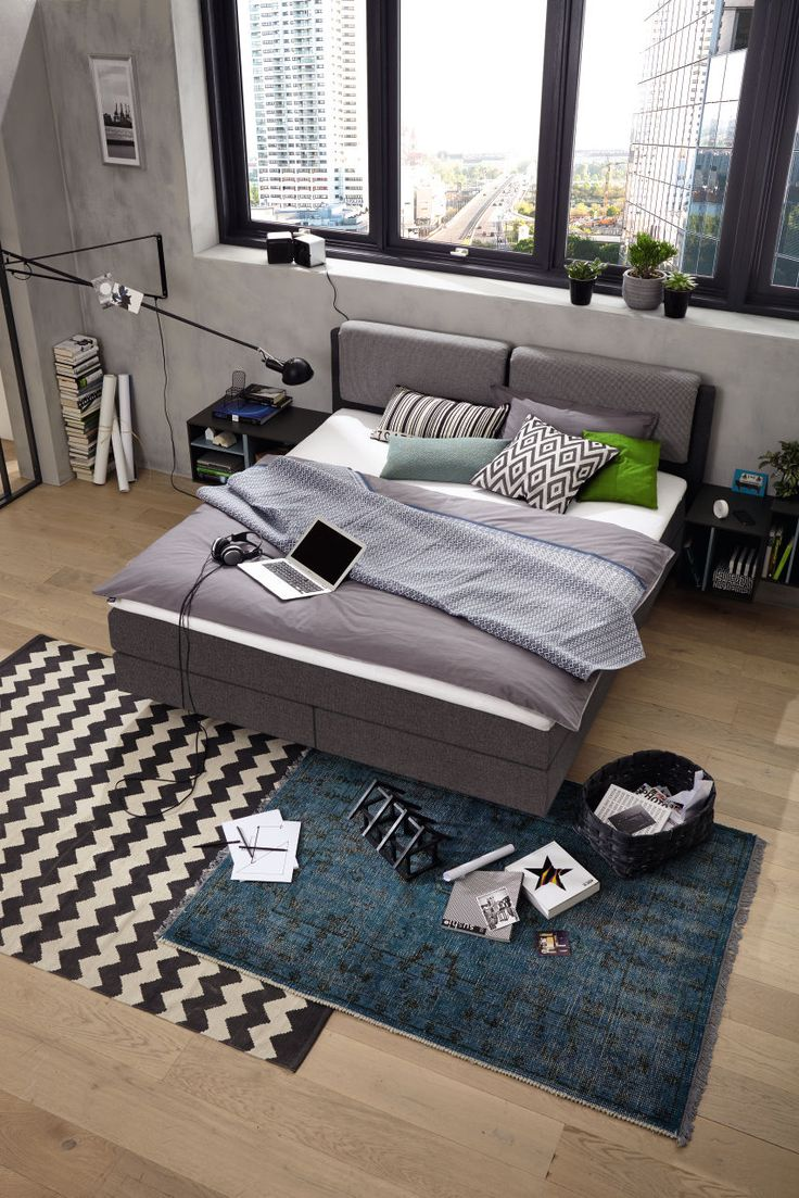 #grey #boxspring #bed #bedroom #now!byhuelsta #hulsta #now!boxspring