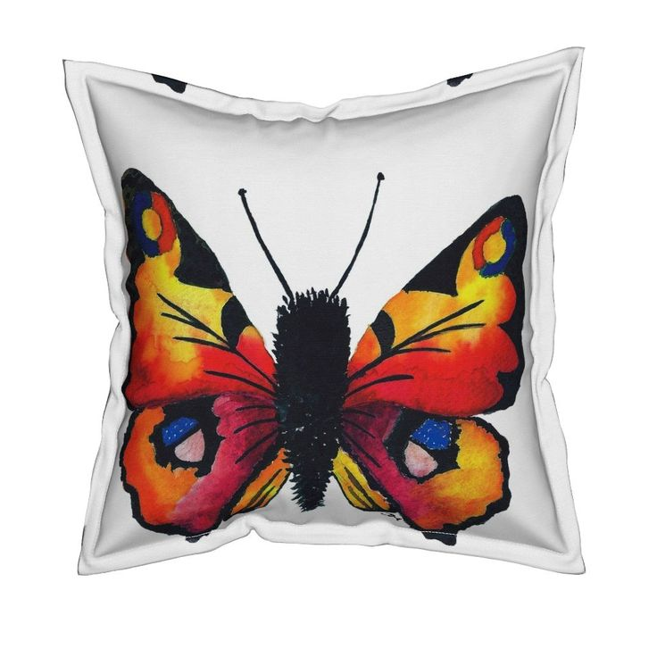 Serama Throw Pillow featuring Peacock_Butterfly by jessmorris | Roostery Home Decor