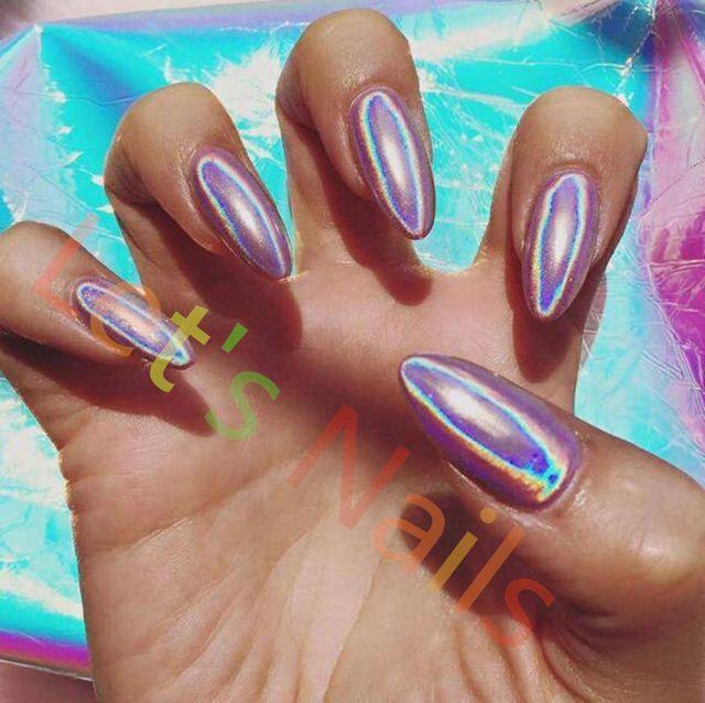 1g/box Laser Silver Holographic Shiny Powder Magic Mirror Powder Nail Glitters Nail Art Sequins Chrome Pigment Nail Polish Dust