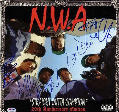 NWA X4 Autographed Signed Straight Outta Compton Album Cover PSA LOA AFTAL