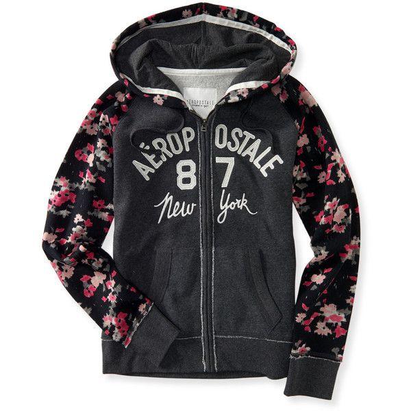 Aeropostale Floral Raglan 87 Full-Zip Hoodie ($25) ❤ liked on Polyvore featuring tops, hoodies, charcoal heather grey, embroidered hoodie, floral hoodies, raglan hoodie, full zip hoodie and aeropostale hoodie