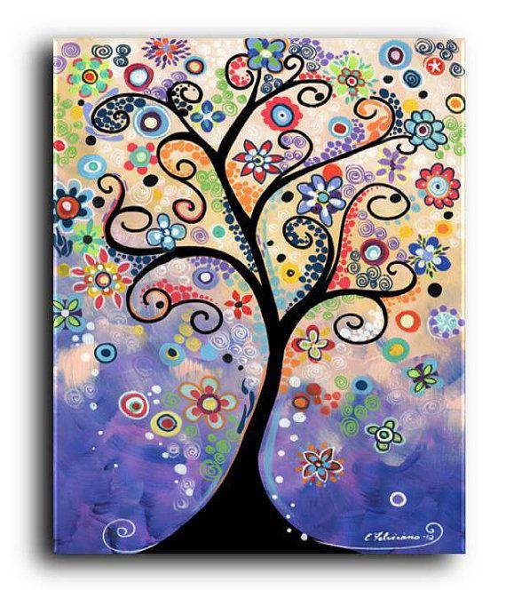 Gallery Canvas and Fine Art Prints Whimsical Tree Painting Tree Art Garden Landscape Flower Painting Folk Kaleidoscope Elena