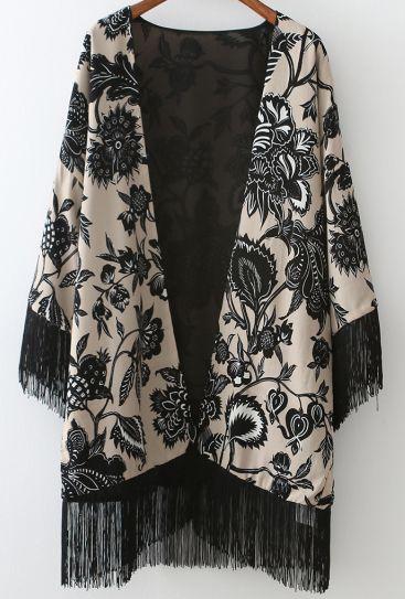 Black White Floral Tassel Loose Kimono