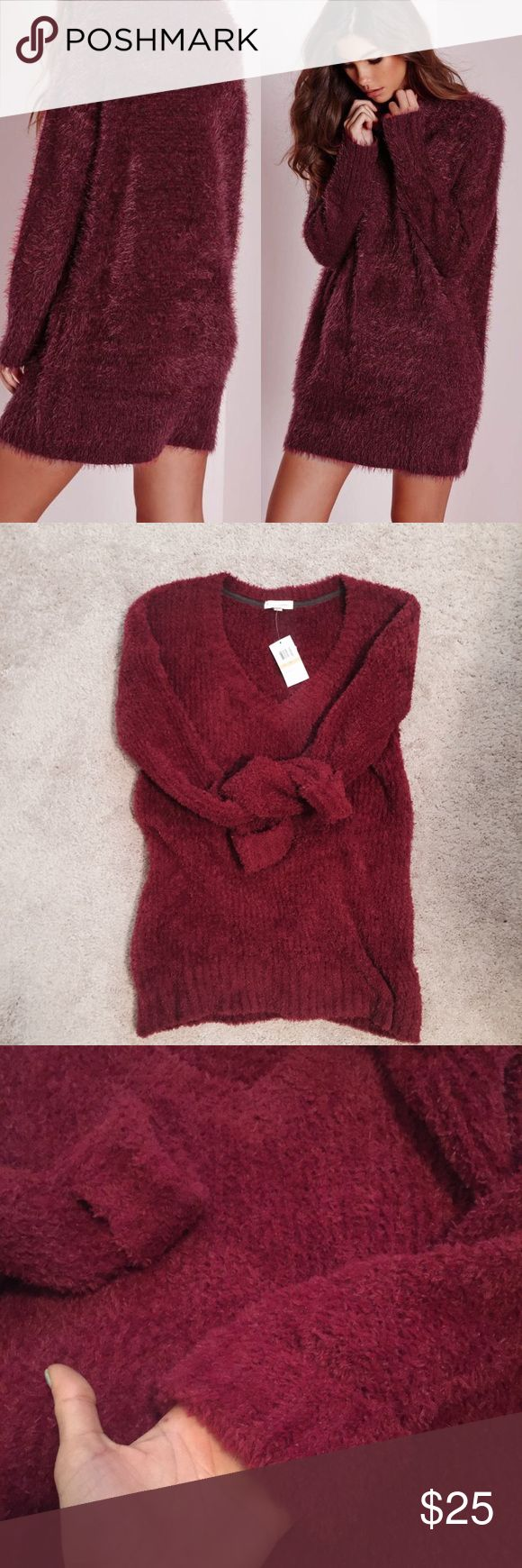 """V-neck Burgundy fluffy sweater Coco + Jaimeson v-neck fluffy sweater  Item is brand new with Tag size M could fit S_M  First picture is just to give you an idea. Im 5.6"""" tall & its mid tight (. Measurements will be provided upon request ) Retail price $45 coco + jameson Sweaters V-Necks"""