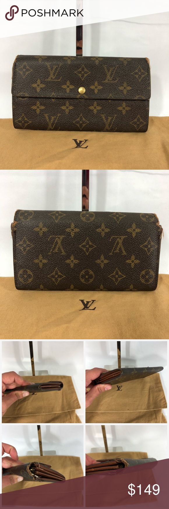 Authentic Louis Vuitton Mono Wallet Wear on corners and edges with loose stitching. Easy cobbler repair. Interior in good condition. Please see all photos. Approximate dimensions are 7.5 inches long and 4 inches tall. No trades please. Louis Vuitton Bags Wallets