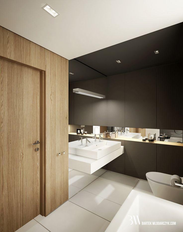 Minimalistyczna łazienka z widokiem na fornirowaną ścianą, podłogą Block White firmy Marazzi, ciemną zabudową ścienną i umywalką firmy Catalano z baterią Steinberg