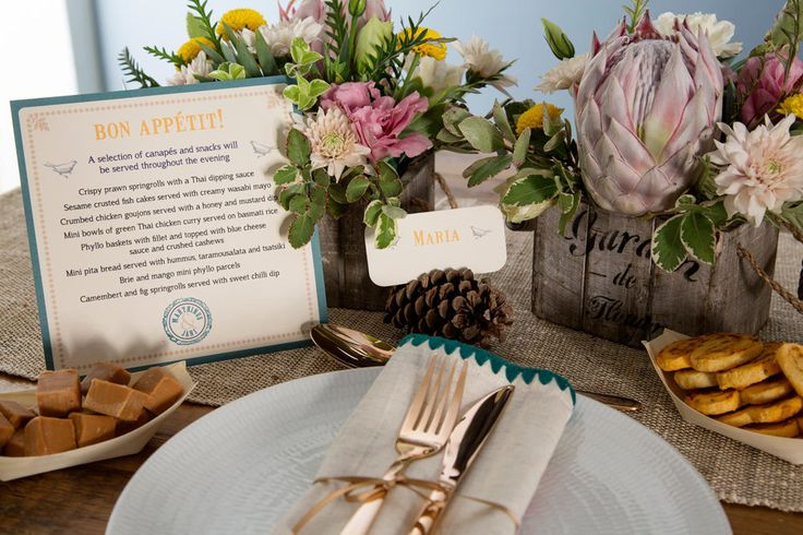 Teal, yellow and grey picnic wedding menu. Styling by Jani Venter. Design by Lorraine Evert. Photo by Rikki Hibbert. Flowers by Diamonds & Pearls Event Styling.