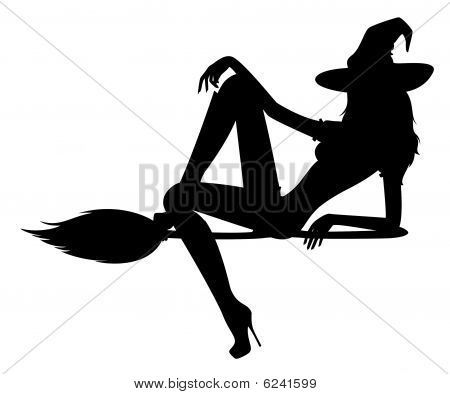 silhouette tattoo of witch on a broom | silhouette of witch Stock Photo & Stock Images | Bigstock