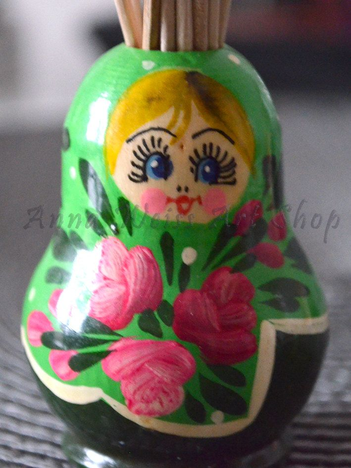 Stand for Toothpicks Matryoshka Russian souvenir wooden toy mother grandma gift idea device for kitchen interior home decor etchnic art by AnnaWeissArt on Etsy