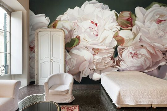 Bedroom // White, grey, pink, pastels & wallpaper // Oversized flower mural by Thomas Darnell