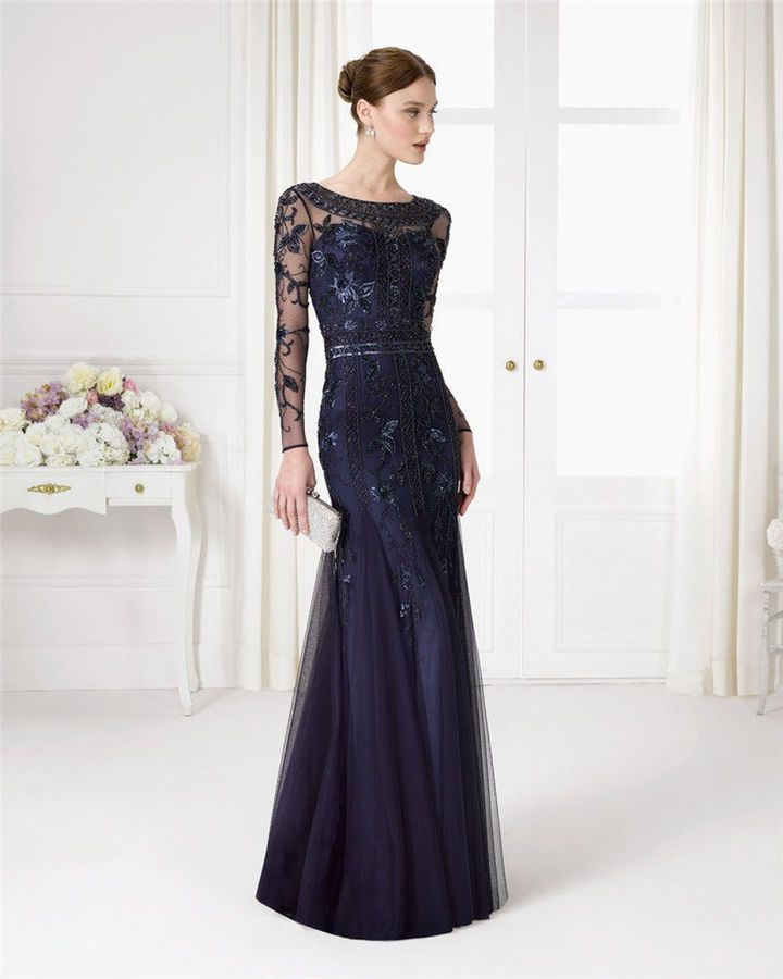 Navy Blue Beads Sequin Mother of the Bride Dress Long Sleeve