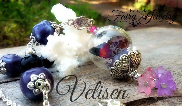 Collana terrario farfalla realistica 3d ceramica viola vetro lucite fiori, by Evangela Fairy Jewelry, 18,00 € su misshobby.com