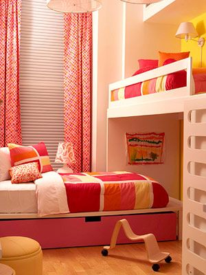 Lift up beds to increase storage space in shared rooms.