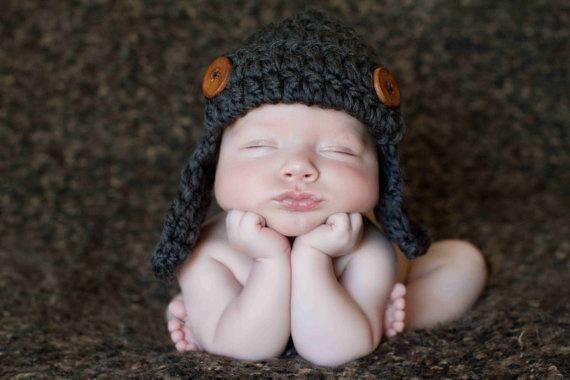 Aviator Hat, Baby Boy Hat, Bomber Hat, Earflap Hat, Crochet Hat, Photo Prop, Grey. $30.00, via Etsy.