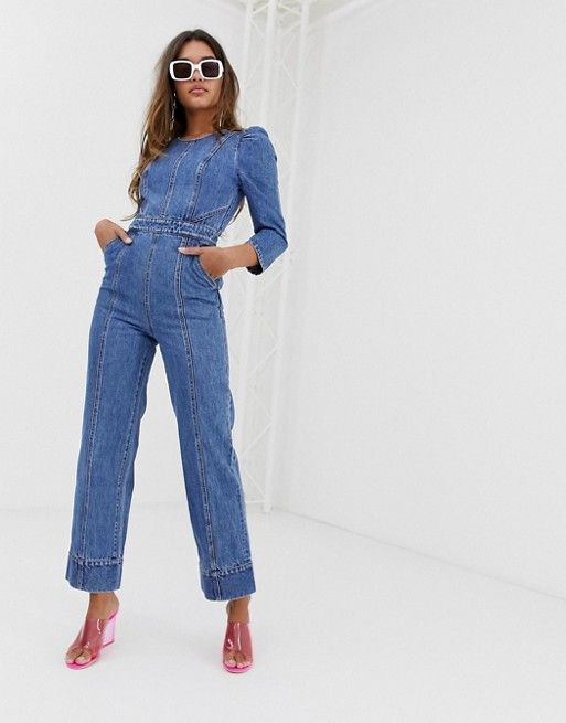 ec67f655a77ad4 Miss Sixty denim jumpsuit with puff fleeve detail | Fashion in 2019 ...