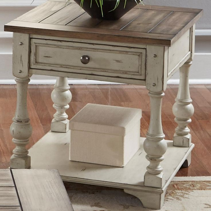 Creek relaxed vintage end table with bottom storage