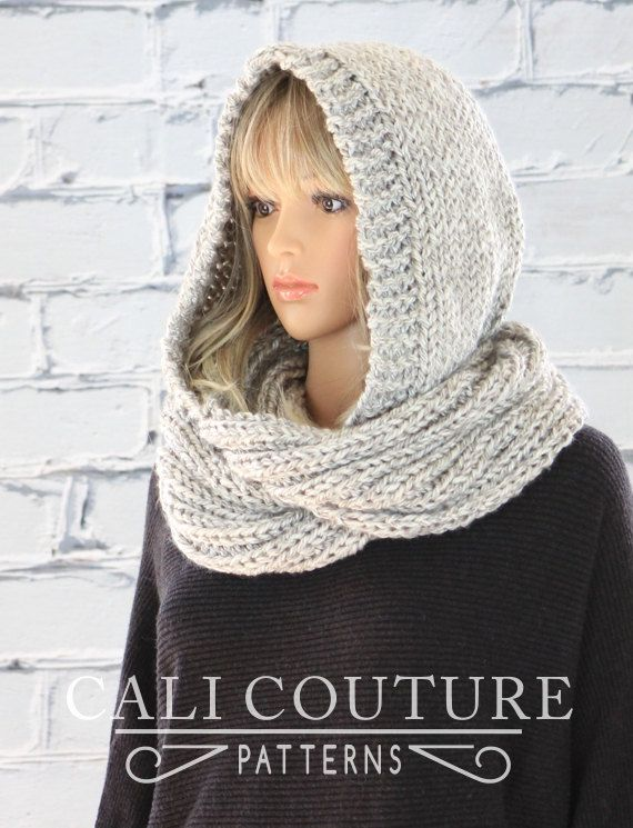 PDF PATTERN of how to make the Montreal Hooded Infinity Scarf. NOT A PHYSICAL SCARF FOR SALE. ♦ Montreal Hooded Scarf pattern #32, a knit infinity scarf with a delicate hood that can be worn up or down. You will be proud to wear this simply stylish scarf you knitted yourself or surprise a loved one with this one-of-a-kind gift. ♦ Photo tutorial included to make easy, clean seams! ♦ Learn how to make a natural, ROUNDED hood... not a square shape front to back, like so many. ♦ Pattern provi...