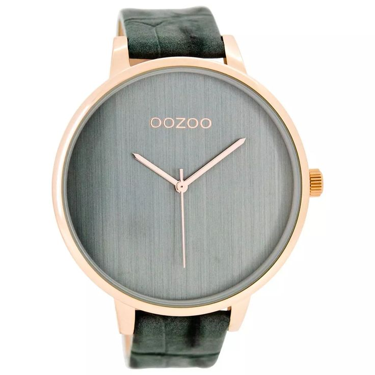 Oozoo Damen-Uhr Timepieces Quarzuhr Leder-Armband blaugrau UOC7908