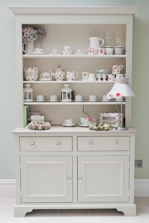 Cool Fab way to display a gorgeous pottery collection tea sets by Emma Bridgewater featuring