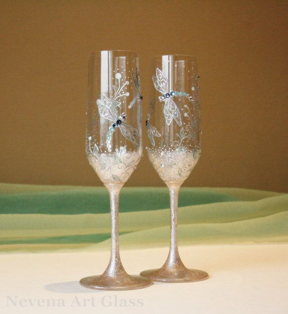 CRYSTAL Wedding Glasses Toasting Champagne by NevenaArtGlass, $64.00 #wedding _glasses #dragonfly #dragon_fly_glasses