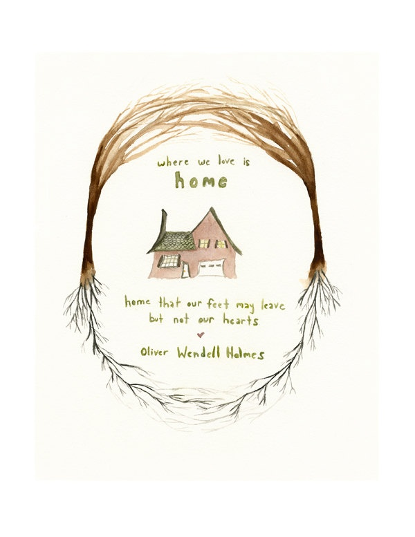 Painting Quote For House : Home Art Print - Where We Love is Home - Oliver Wendell Holmes Quote ...
