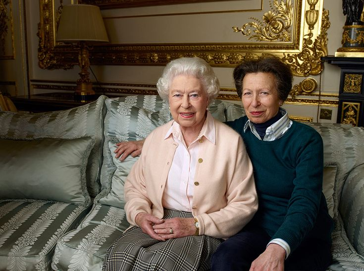Queen Elizabeth II and her daughter Anne, Princess Royal in the White Drawing Room at Windsor Castle.