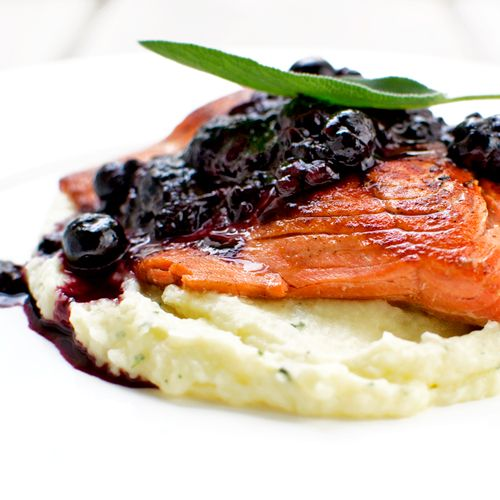 Wild Salmon with a Berry Noir Sauce and Parsnip Puree