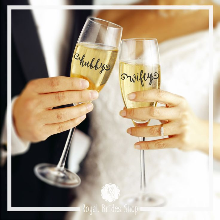 Wedding flute decals that can be applied to any champagne flute or wine glass. They will make your glasses special and will look great photos.