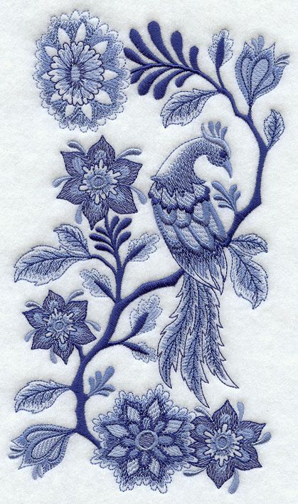 Delft Blue Bird and Flowers