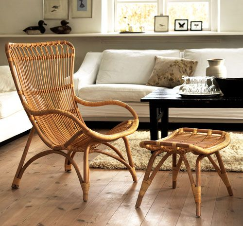 casual cane chair curves lines