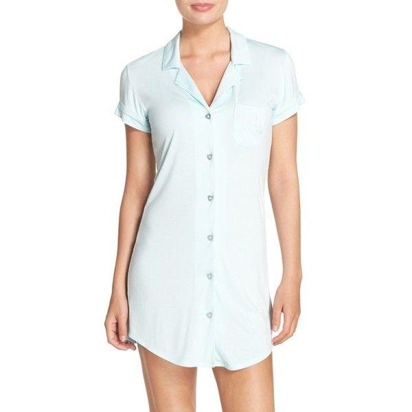 Women's Betsey Johnson Bride Sleep Shirt ($58) ❤ liked on Polyvore featuring intimates, sleepwear, nightgowns, button sleep shirt, betsey johnson sleepwear, night shirt, sleep shirts and betsey johnson