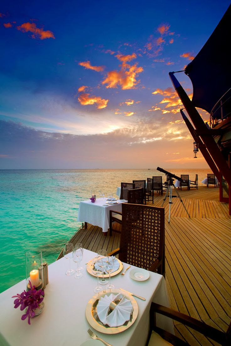 Dinner at the Lighthouse Restaurant, Baros Maldives
