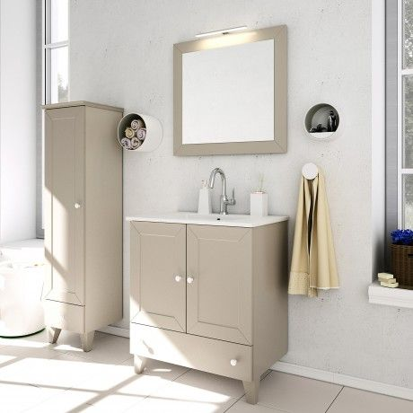 Amazing Albero Design Latina Badezimmerset cm mit LED Spiegel beige matt