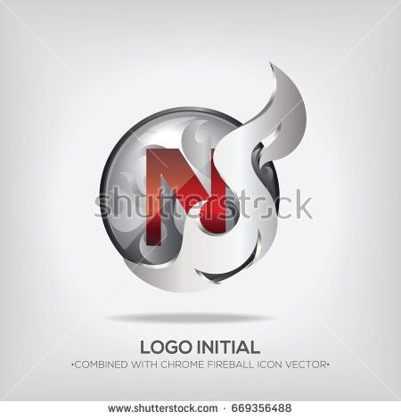 N Initial Logo With Chrome Fireball Icon Vector