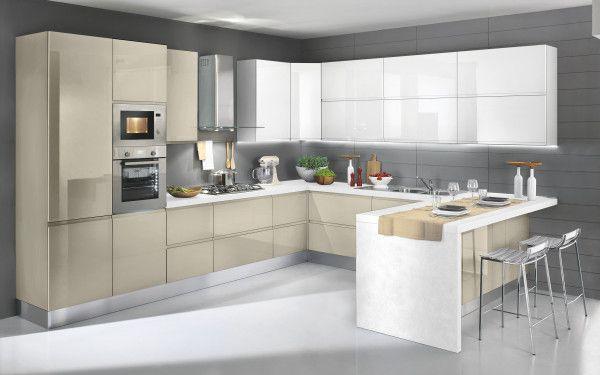 Cucina componibile, bianco, bianco lucido | : Alice GU9Z | cocinas ...