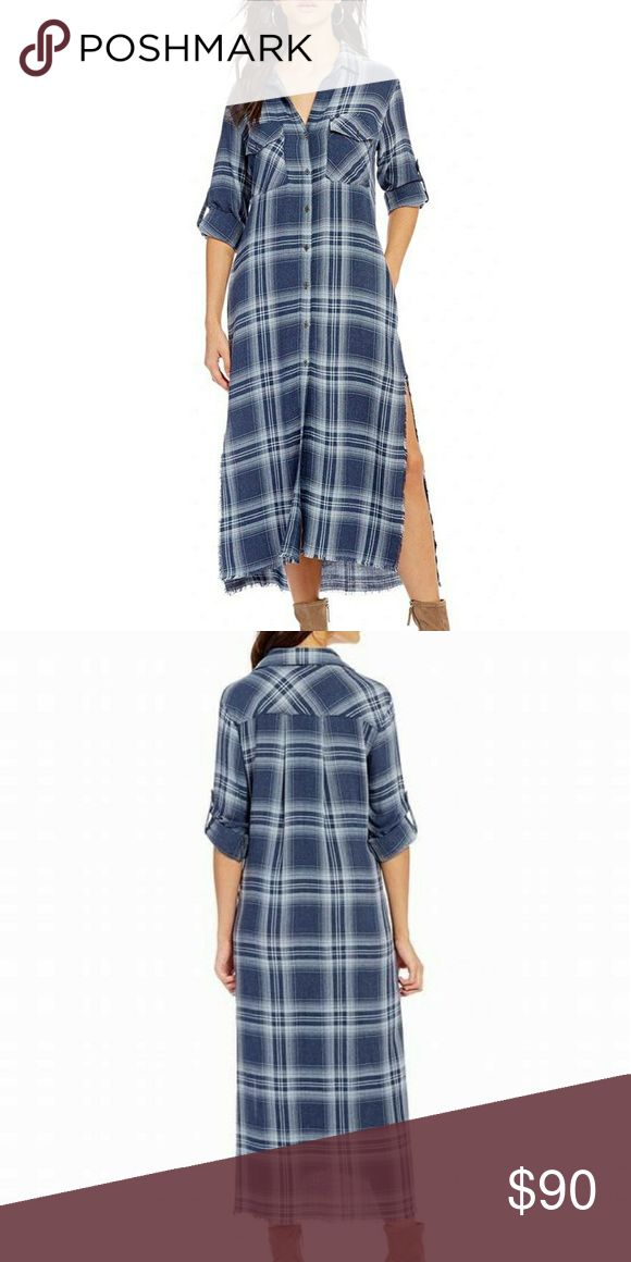 Anthropologie Chelsea & Violet Plaid Dress Unique Stylish Chelsea & Violet Utility  Duster Button Down Side Slit Boho Plaid Dress Color: Beacon blue Shirt dress silhouette Button down collar Long roll-tab sleeves Button front closure Side slitsfrayed hem 100% Rayon  NWT! Never worn. In original package. Smoke free and pet free home. Chelsea & Violet Dresses