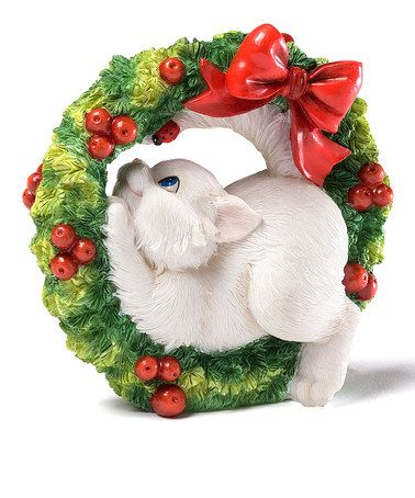 This Christmas Wreath Cat Figurine by Charming Purrsonalities is perfect! #zulilyfinds