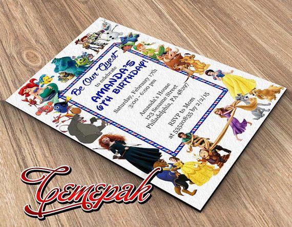 All Disney Character-Birthday Invitation-Printable by Cemepak