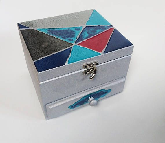 OOAK jewelry box with mirror metallic silver abstract art blue