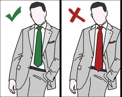 Krawat powinien być takiej długości, aby jego końcówka stykała się idealnie z paskiem u spodni. Krawat nie może być za krótki i kończyć się przed paskiem ani za długi i linii paska przekraczać.  Pamiętamy też, aby szersza część krawatu była odpowiednio dłuższa od węższej.