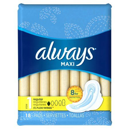 Always Maxi Regular Pads, 18 count, White